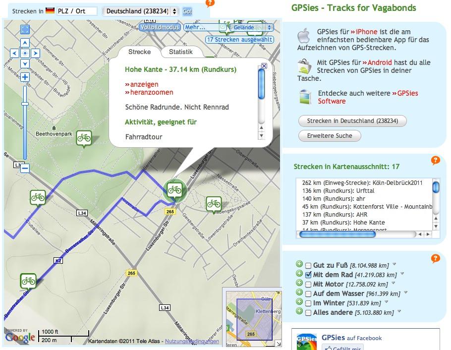 Gpsies Karte.Gpsies Com Routen Für Alle Fälle Björns Techblog