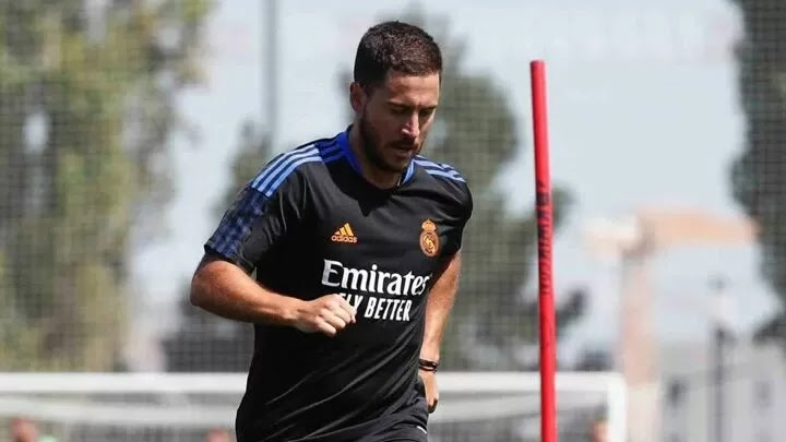 Hazard trains alone following his return to Real Madrid