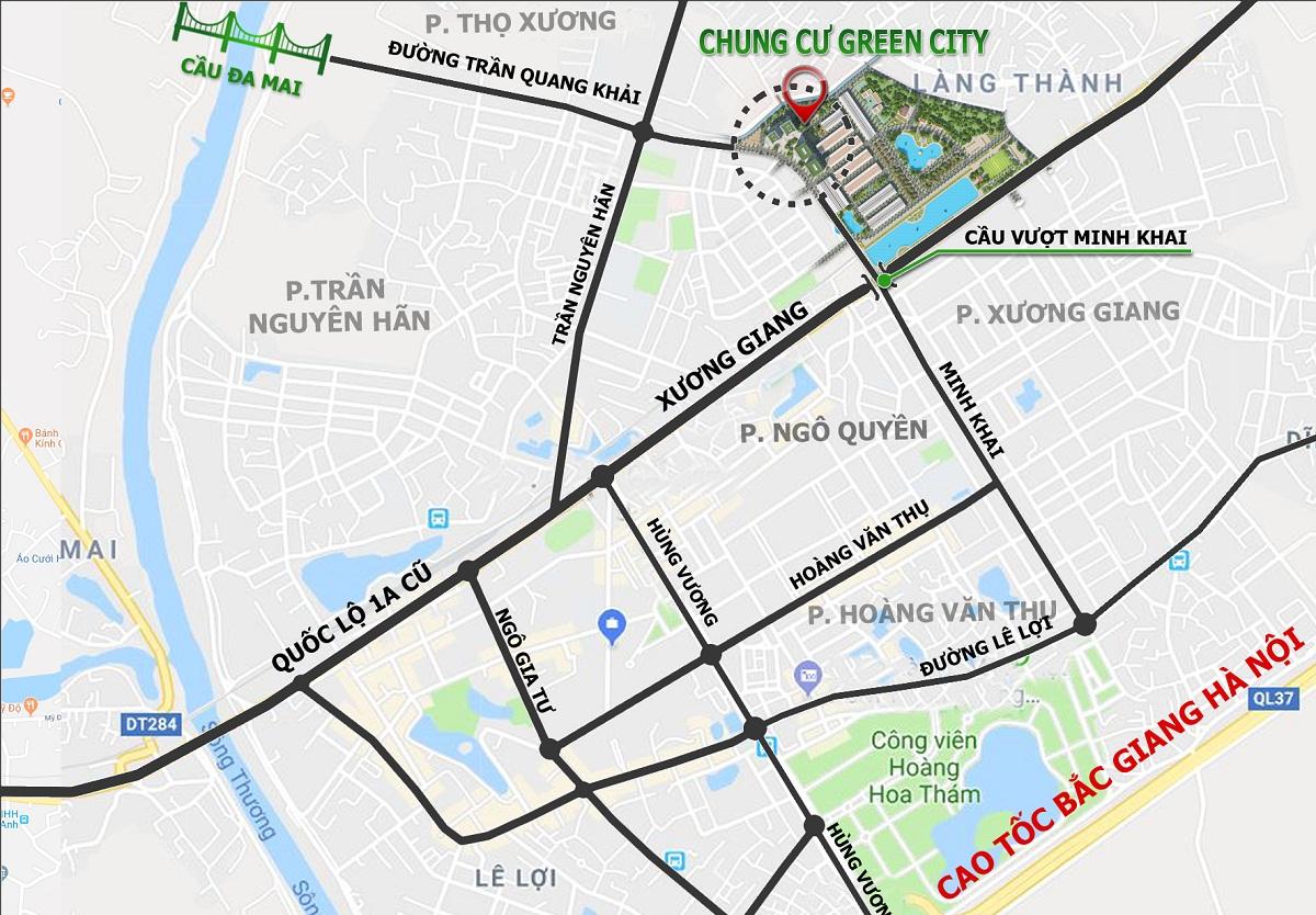 Vị trí Chung Cư Green City Bắc Giang