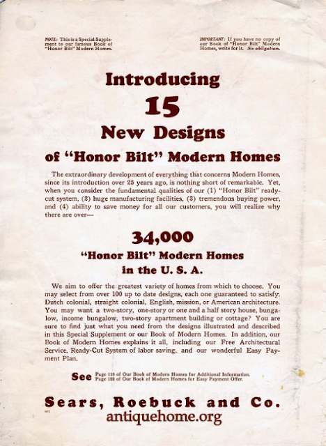 Sears Modern Homes special supplement 1926 introducing 15 new designs, courtesy Daily Bungalow/AntiqueHome.org