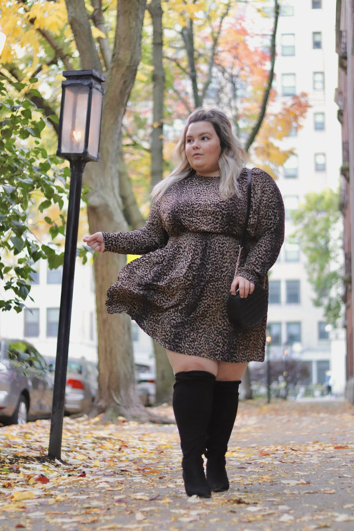 Chicago Plus Size Petite Fashion Blogger and model Natalie Craig Natalie in the City plus size dresses wide calf boots