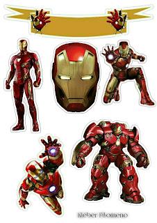Iron Man: Toppers para Tartas, Tortas, Pasteles, Bizcochos o Cakes para Imprimir Gratis.