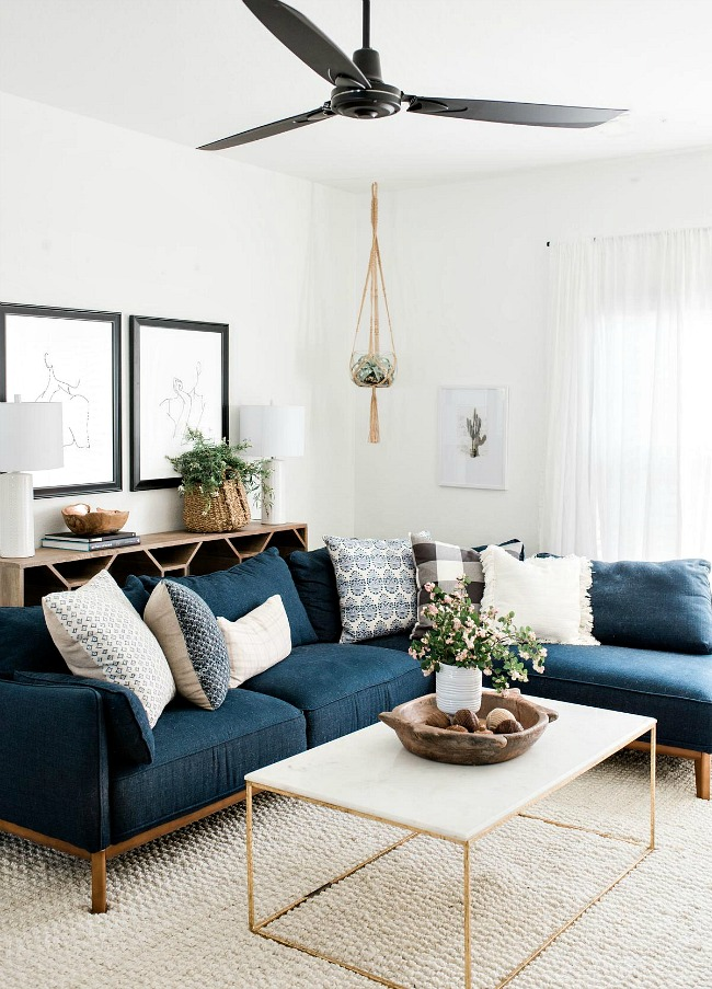 Living room with dark blue couch
