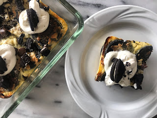 a slice of chocolate sandwich cookie kugel and a glimpse of the whole kugel by faith kramer blog appetit