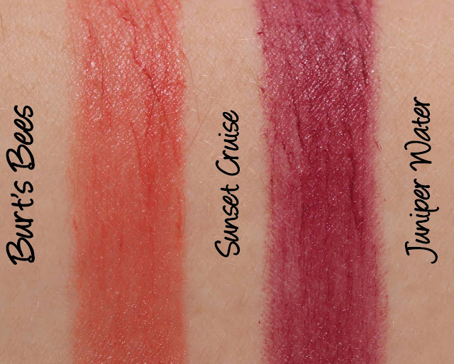 Burt's Bees Lipsticks - Sunset Cruise and Juniper Water Swatches & Review