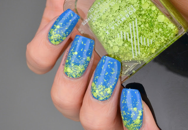 Blue with Green Glitter Gradient Nail Art