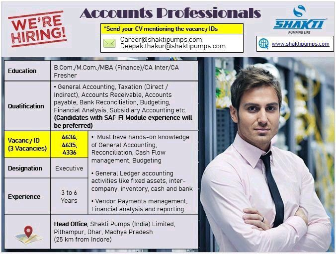 Shakti Pumps (India) Limited Hiring Accounts Professionals Required Qualification B.Com /M.Com /MBA (Finance)/CA Inter/CA