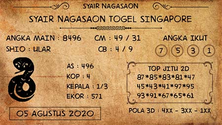 Nagasaon SGP Rabu 05 Agustus 2020
