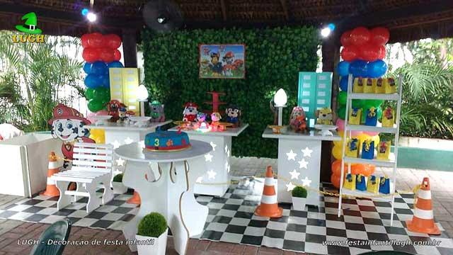Decoração infantil Patrulha Canina provençal - Festa decorada na Barra - RJ