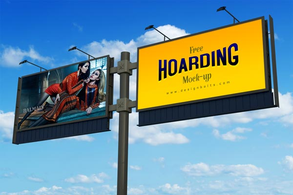 Free Frontlit Outdoor Advertising Hoarding Mockup PSD