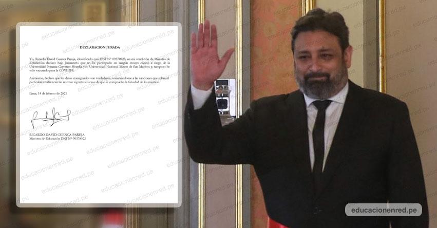 MINEDU: Ministro Cuenca rechaza haber recibido vacuna contra la Covid-19 de Sinopharm