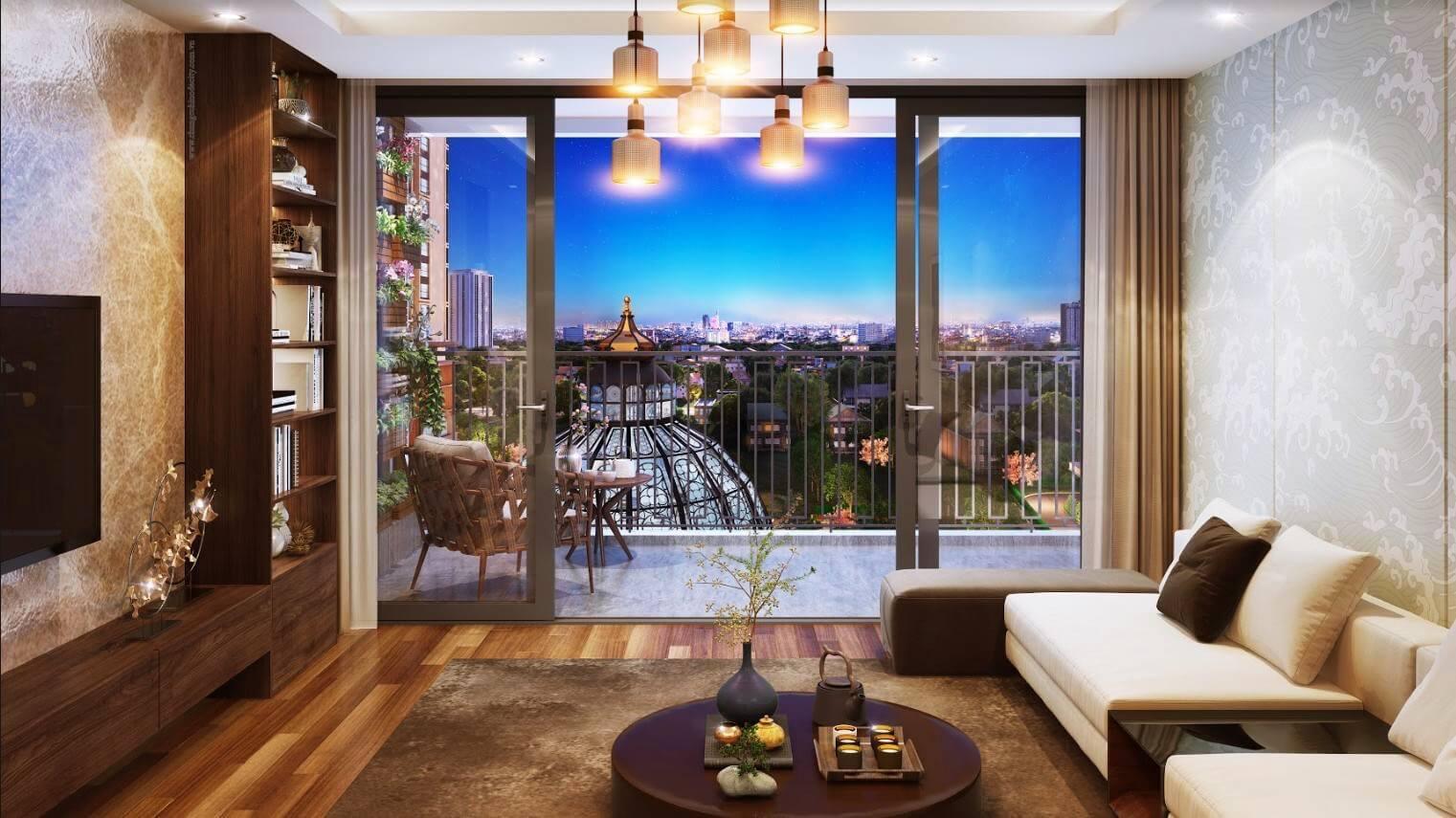 Nội thất phòng khách căn hộ chung cư 201 Minh Khai