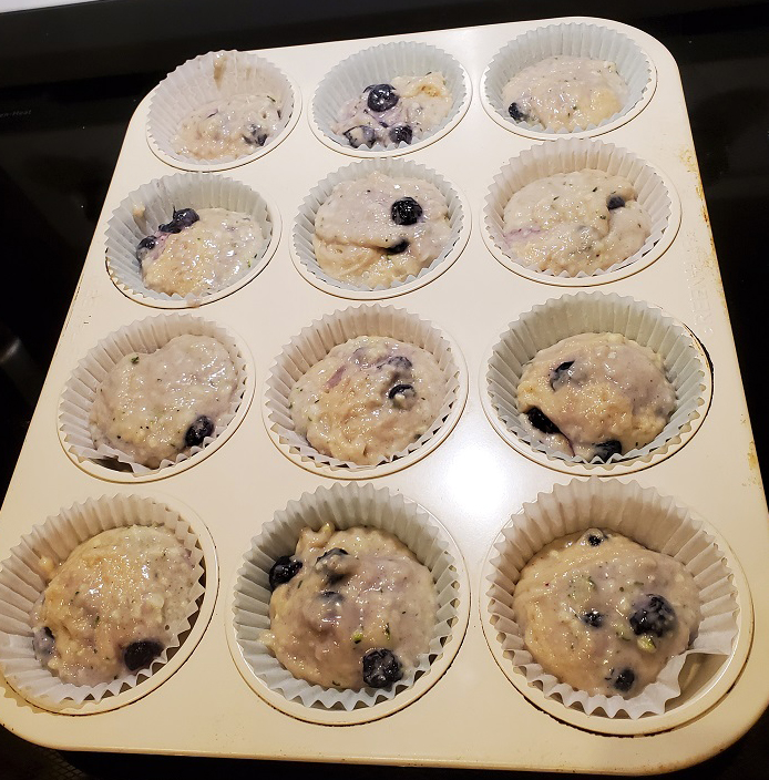 this is raw muffin batter made with zucchini and blueberries