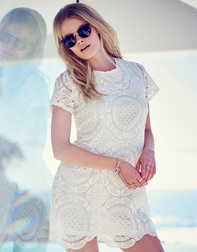 cf. Sheinside 2015 Fall White Lace Turtle Neck Dress
