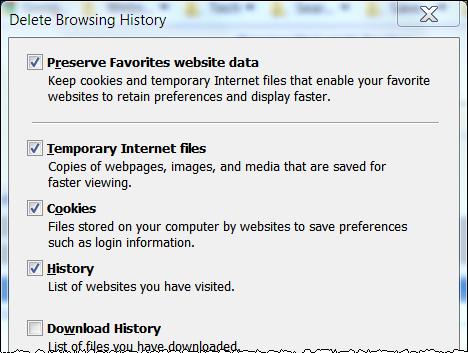 how to delete cache in internet explorer 9