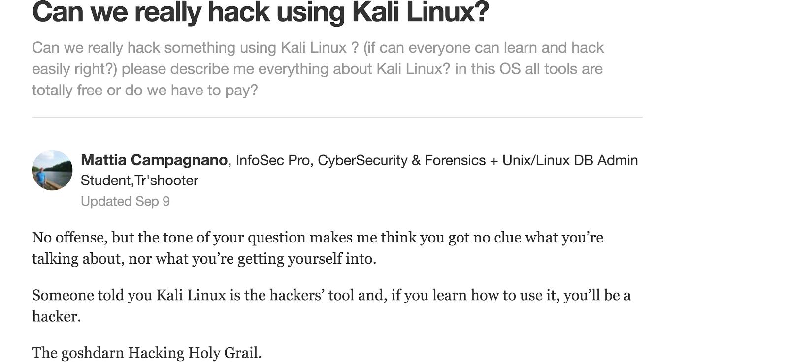 Kali Linux - Hacking Holy Grail? Not really! – Mattia Campagnano