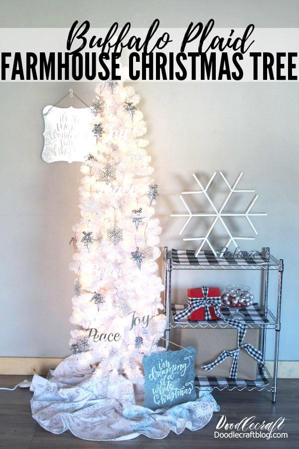Farmhouse Style Buffalo Plaid Christmas Tree with galvanized steel ornaments and buffalo check details.
