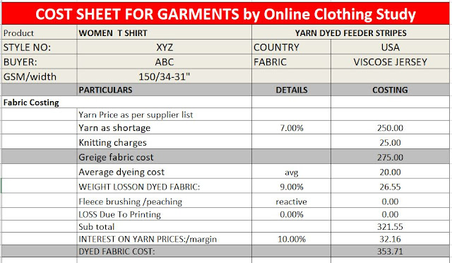 Garment costing sheet Excel template