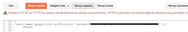 Blogger tema koduna Google doğrulama etiketi ekleme