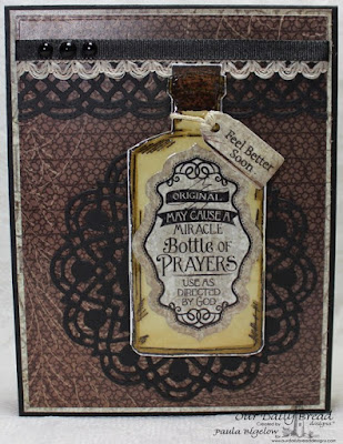 Our Daily Bread Designs, Apothecary Bottles, Beautiful Boho Background, Mini Tag Sentiments, Mini Tags Dies, Antique Labels and Border Dies, Beautiful Borders Dies, Doily Dies, Vintage Ephemera Collection Paper, Designed by Paula Bigelow