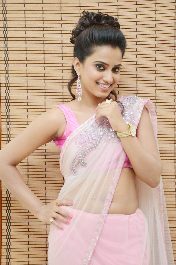 Dimple in Georgette pink sari latest hot photos at fashion show