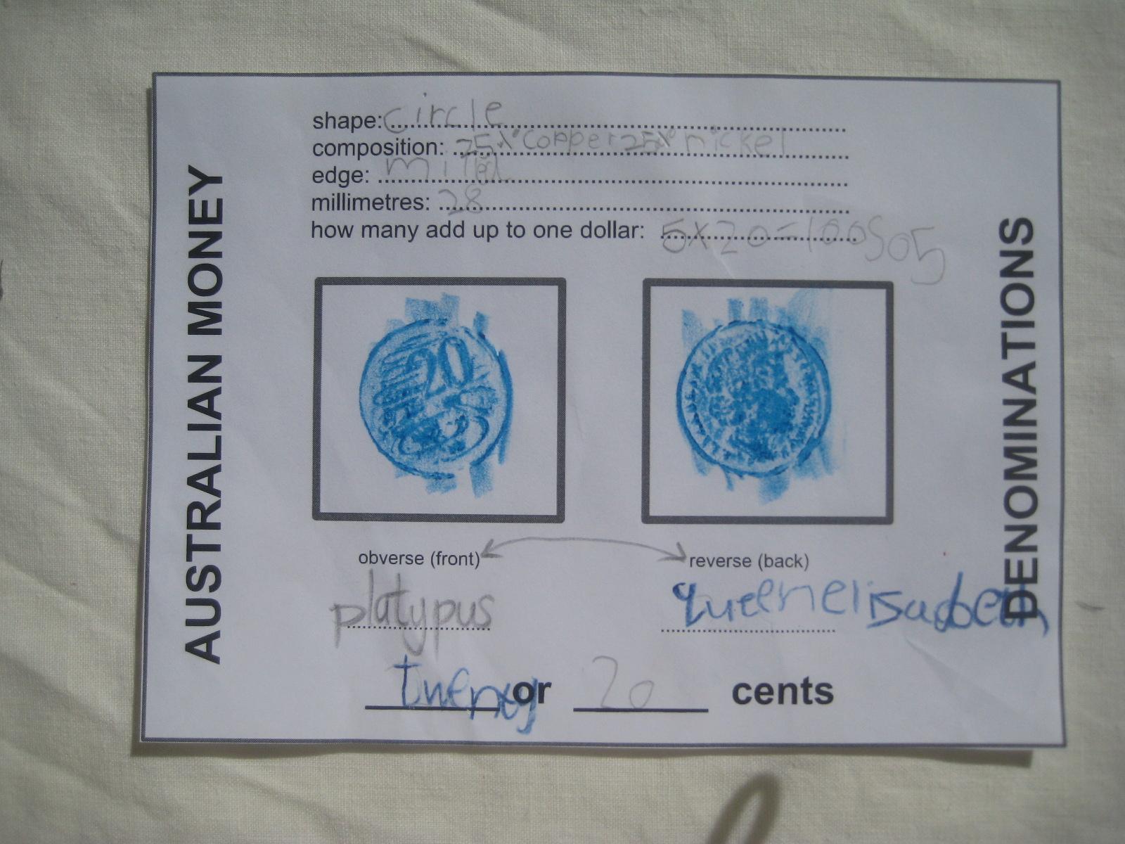 Home School Dreaming Australian Money