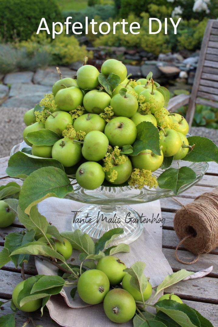 Sommerdeko mit grünen Äfpeln