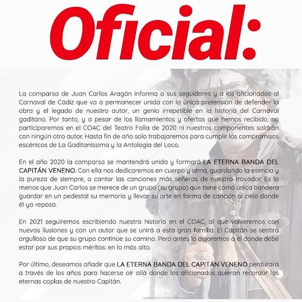 """La Comparsa de Juan Carlos Aragon será en el Carnaval 2020 """"La Eterna Banda del Capitan Veneno"""""""