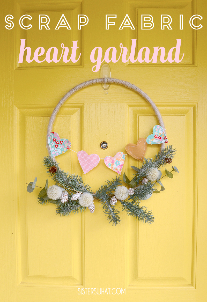 Scrap fabric heart garland