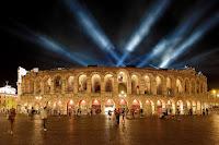 Verona arena lit at night