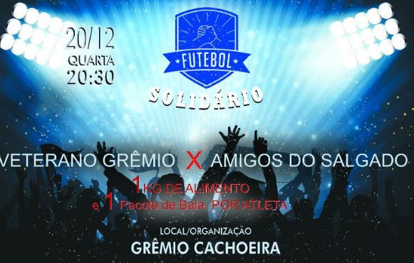 FUTEBOL SOLIDÁRIO EM CAMPO NO DIA 20/12