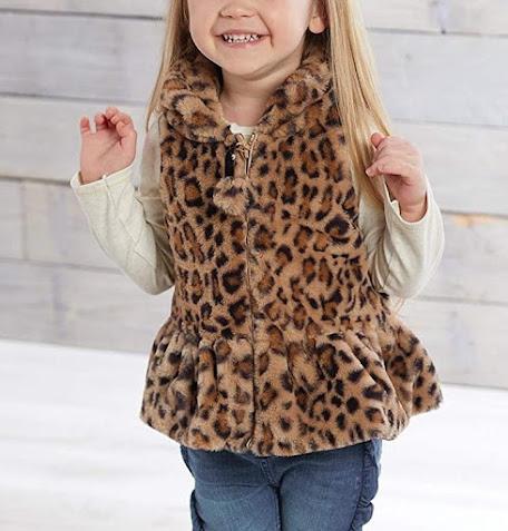 Leopard Girls Faux Fur Vest For Kids