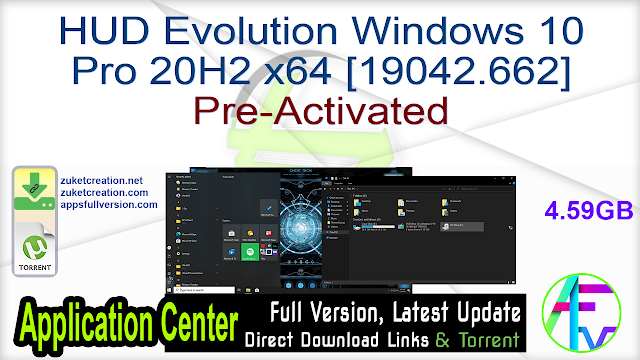 HUD Evolution Windows 10 Pro 20H2 x64 [19042.662] Pre-Activated