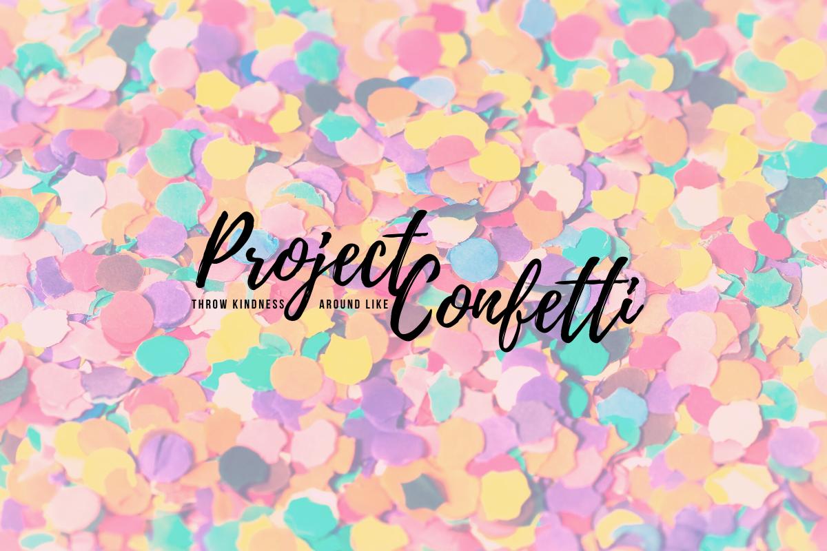 Logo van project confetti op een achtergrond van gekleurde confetti.
