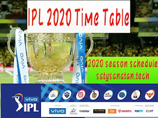 Vivo IPL 2020 Schedule| Time Table| Match Schedule