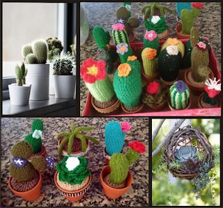 Suculentas, cactus y crasas naturales y tejidos en crochet