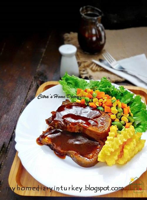Resep Saus Steak : resep, steak, Citra's, Diary:, Indonesian, Style, Braised, Tongue, Bistik, Lidah