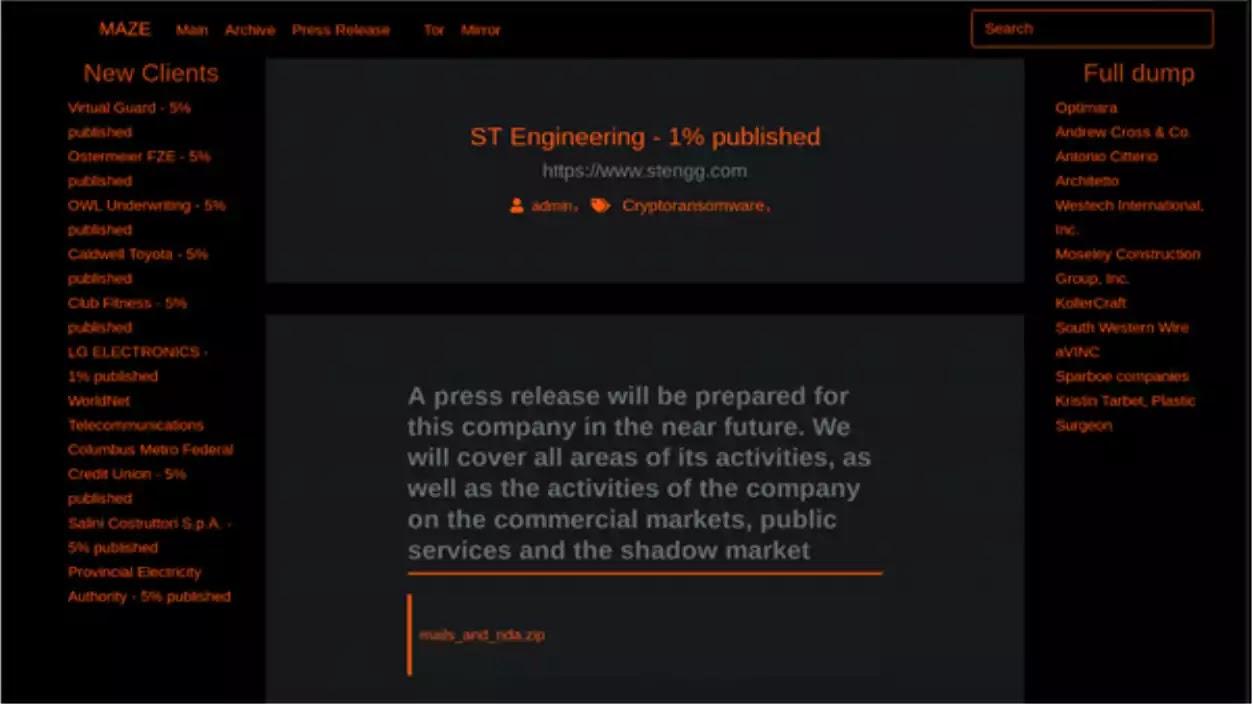 Maze Ransomware Website
