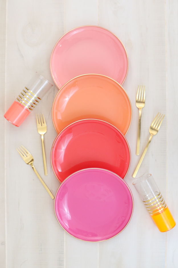 DIY Your own colorful plates with gold edges similar to dinner ware you would see in Target or Anthropologie - Oh Joy copy cat dinner ware - craft ideas - home decor diy projects