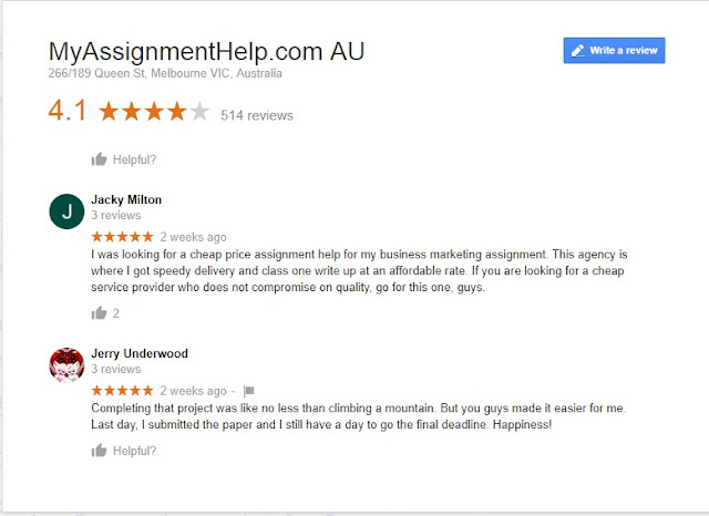 Myassignmenthelp.com Reviews on Google