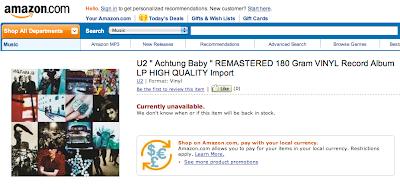 U2 Achtung Baby REMASTERED 180 Gram VINYL Record Album LP HIGH QUALITY Import