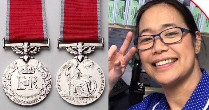 Filipina nurse gets British Empire Medal from Queen Elizabeth II