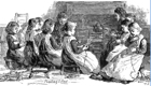 Drawing of children learning to plait straw in Victorian times Image courtesy of thestrawplaiters.com