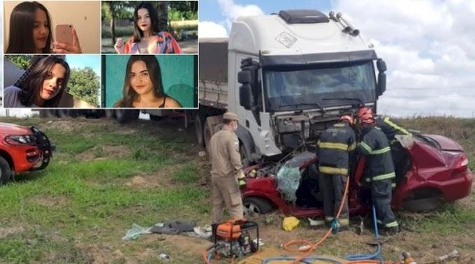Quatro jovens morrem em acidente entre caminhão e carro na BR-304