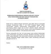 Kebenaran Beroperasi Dengan Kapasiti Penuh Bagi Perkhidmatan Feri Dan Bot Penumpang Di Negeri Sabah