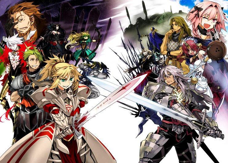 Bohaterowie Fate/Apocrypha - Ruler po lewej, Lancer po prawej