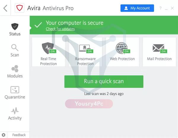 تحميل برنامج افيرا انتى فيرس برو Avira Antivirus Pro Full كامل أخر إصدار - Yousry4Pc