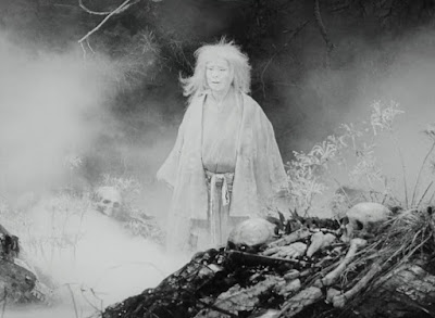 "Movie still from ""Throne of Blood"" featuring the Old Ghost Woman, played by Chieko Naniwa."