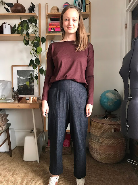 Diary of a Chain Stitcher: Merino Jersey Tessuti Mandy Boat Tee and Wool Herringbone Closet Case Patterns Pietra Pants The Fabric Store