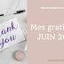 Mes gratitudes du mois de Juin
